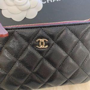 Authentic Chanel mini o case caviar black BNIB